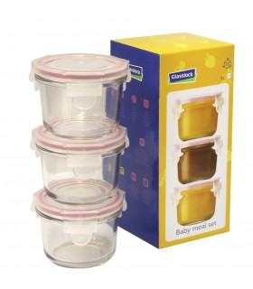 Glasslock. Baby meal set. 3 Rosa
